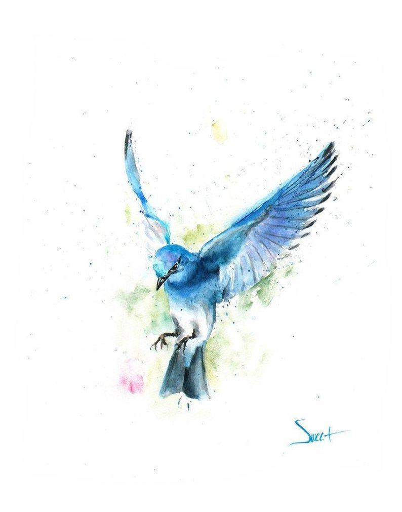 Bleu Imprime Oiseau Oiseaux Flying Art D Oiseau Peinture Oiseau