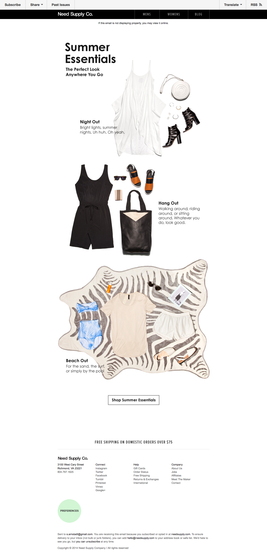 Needsupply Email Summer Essentials Summer Shop Email Design