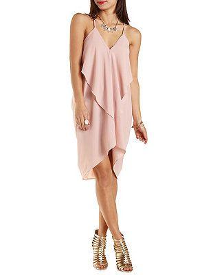 fc144288829 Draped   Caped Ruffle Trapeze Dress  Charlotte Russe
