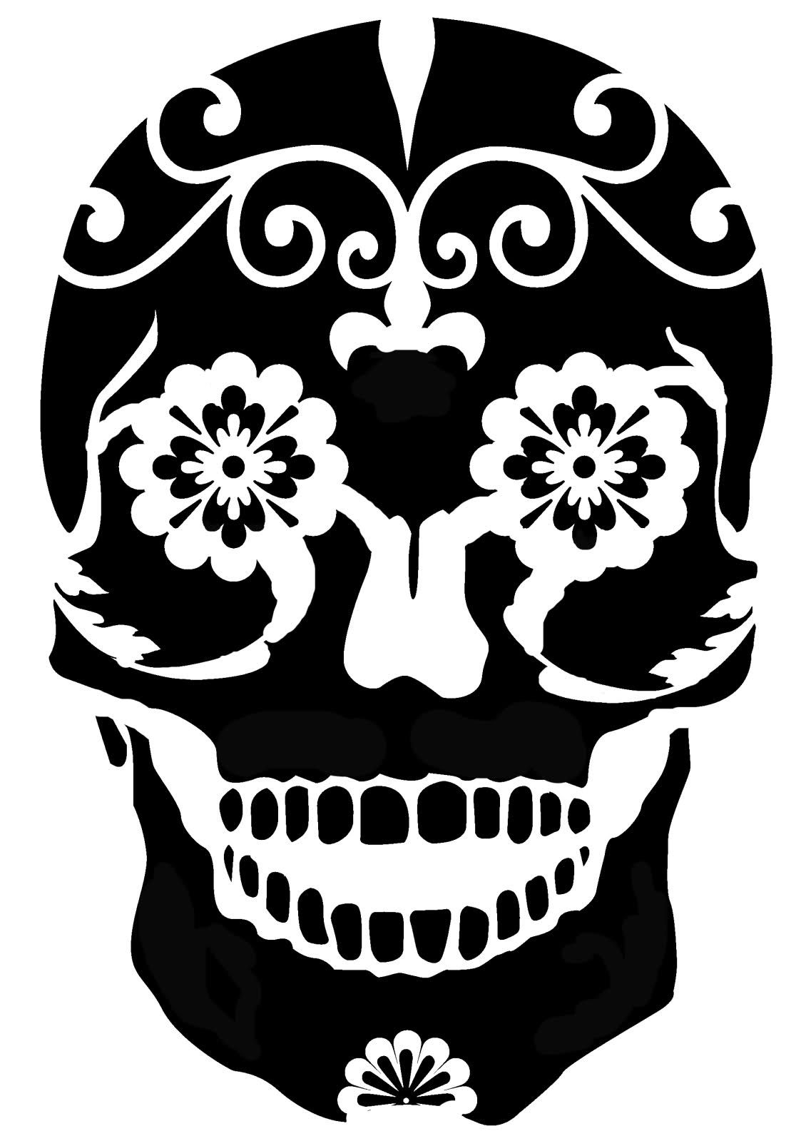 sugar skull - a great pattern for silk painting, stamping and ...