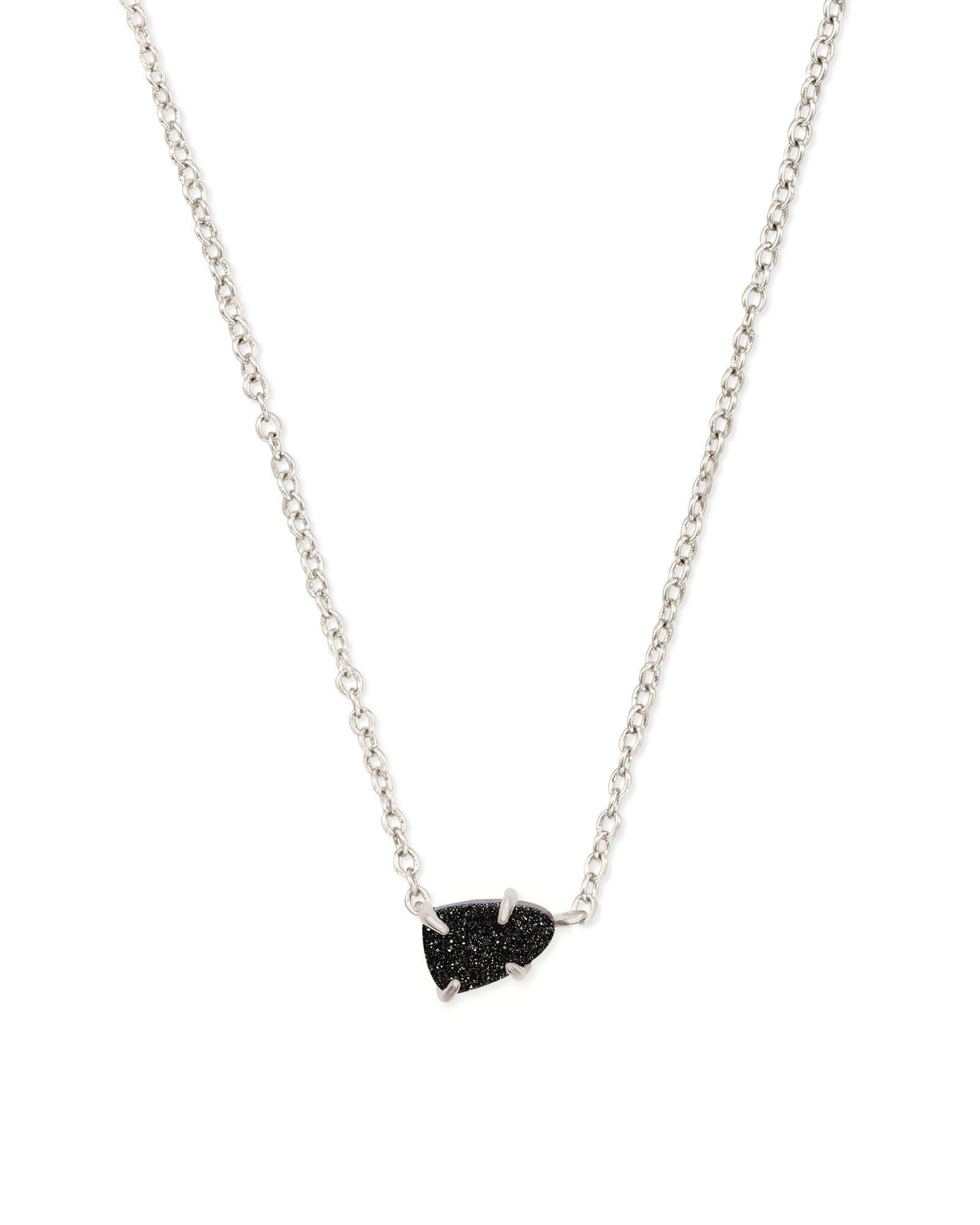 Black Drusy Pendant Necklace