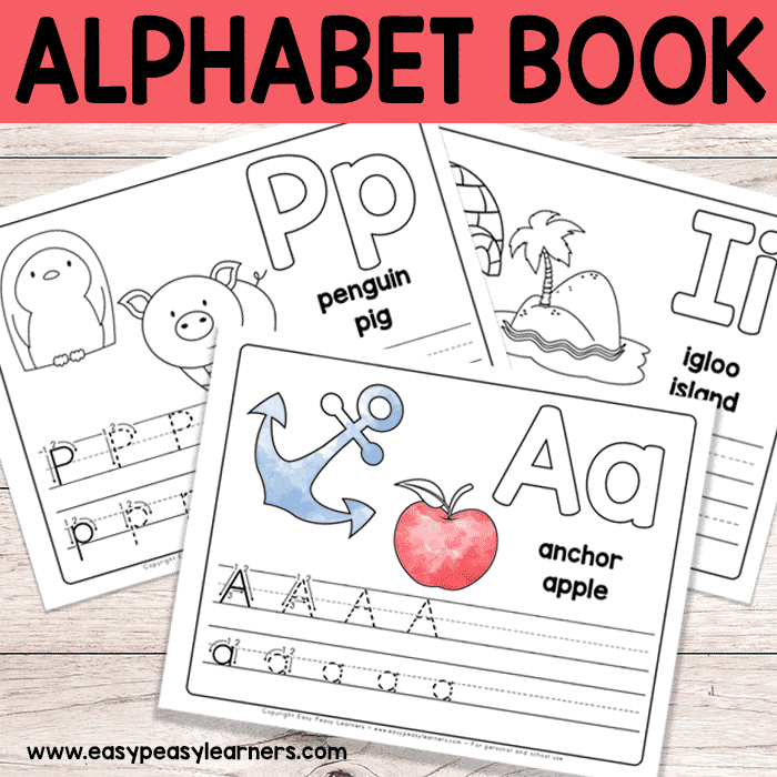 Bright image with alphabet book printable