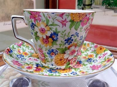 """LORD NELSON PORCELAIN ENGLAND  CHINTZ MARIGOLD 2 3/4"""" CUP AND SAUCER SET"""