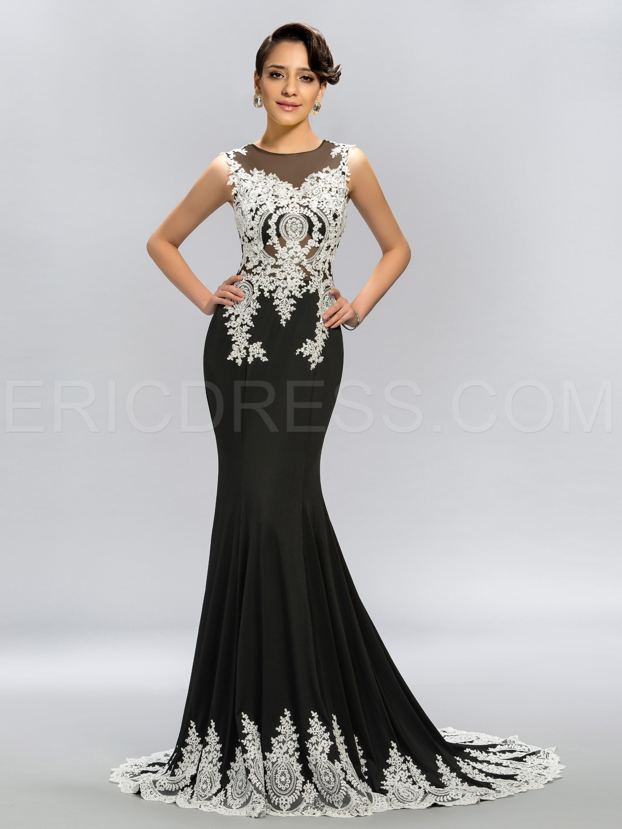 Stunning tulle appliques beading mermaid long evening dress