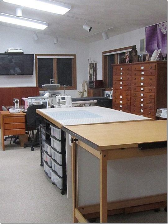 Studiocuttingtables,sewingand ironing