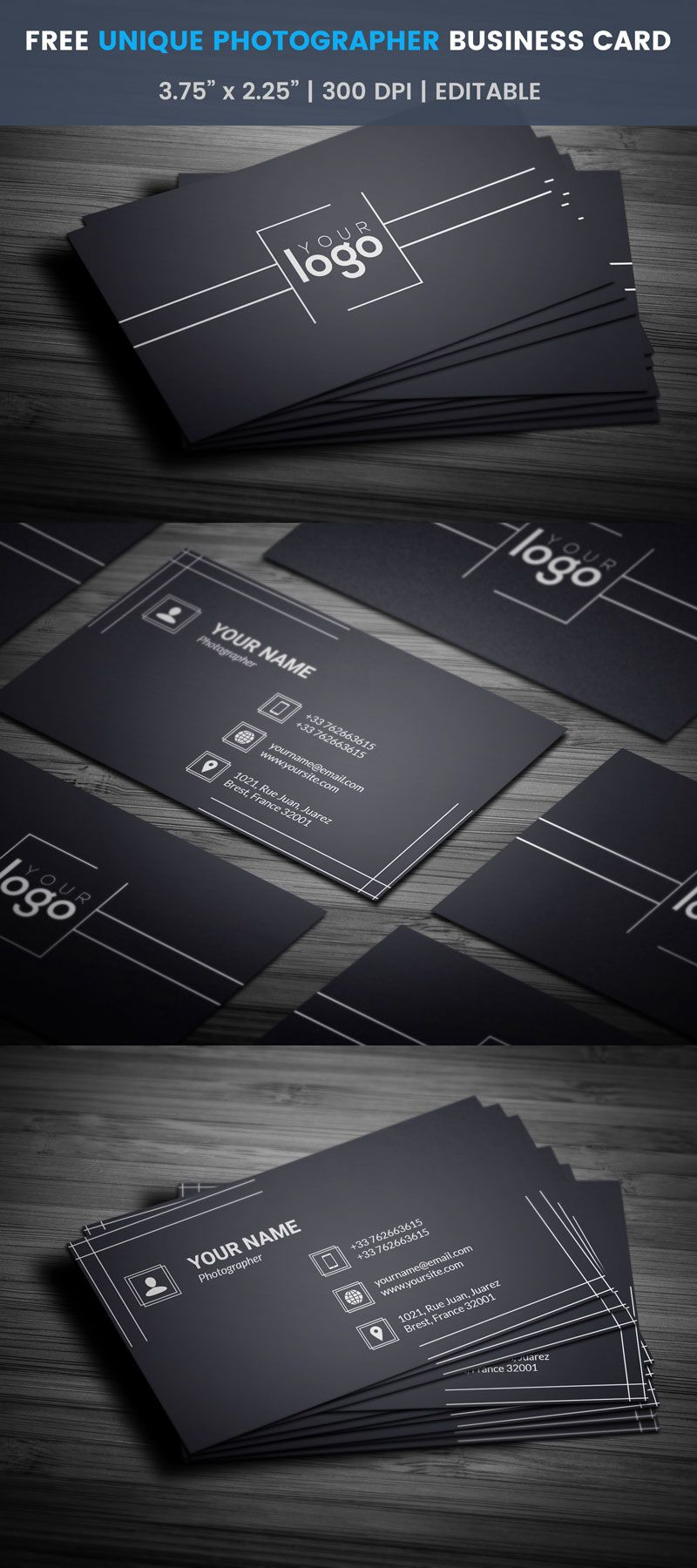 Unique photographer business card full preview ar cards free unique photographer business card template edit download reheart Choice Image