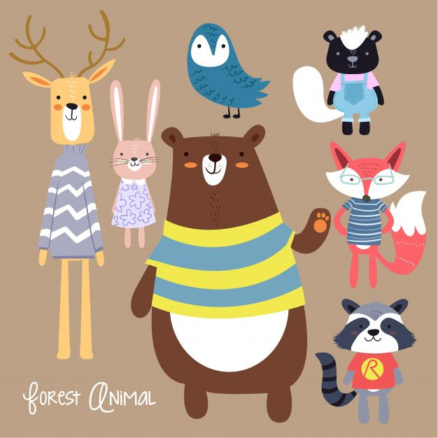 Collection Of Forest Animals Animal Illustration Kids Animal Illustration Cute Illustration