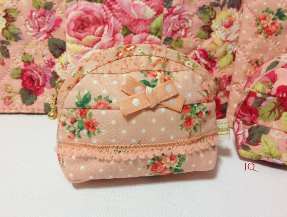 Mini Rose Garden Quilted Cosmetic Pouch Girl's Secret Pouch Purse Wedding MomsGift Personalized Gift is part of Mini Rose garden - Rose Garden  Series  Peach Cosmetic Pouch  Purse is all handmade  with care  Mini Size Width 13 cm (4 7 )   Height  8 5 cm (3 1 )  Bottom 5cm (2 )  mini size purse for your big bag  or vintage style decoration, collections  This lady's purse is made with cotton 100% best quality Fabric,  high quality zipper ,cotton tag , and ribbon  Very durable and delicate female accessories    I proudly recommend these for your cosmetic pouch,unique handmade Collection, and special gift for your friends & Family  The more I made this kinds of pouches, the more I got inspired to make unique and my own style of purses and pouches  Pattern and full photo instruction is ready  available on my shop