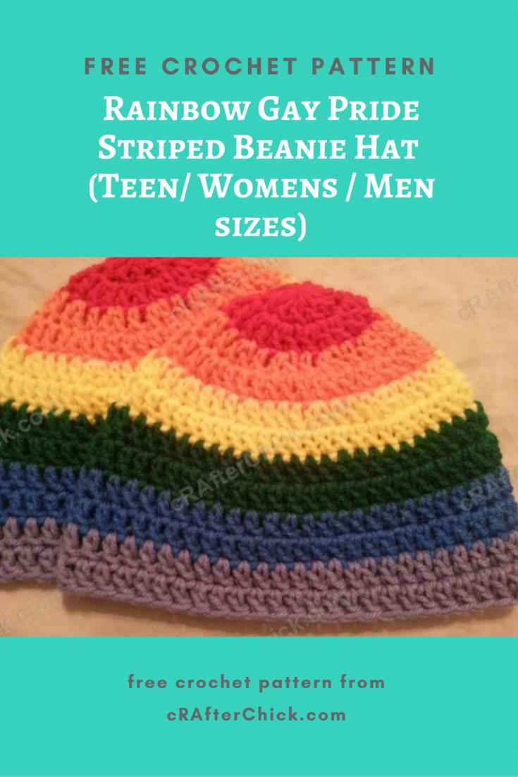 Rainbow Gay Pride Striped Beanie Hat Crochet Pattern for Teen ...