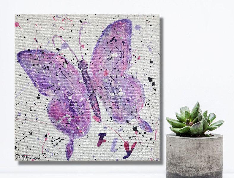 Acrylbild wanddeko schmetterling lila 140 for Wanddeko lila