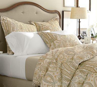 Blythe Paisley Organic Sateen Duvet Cover Sham Neutral Potterybarn Paisley Duvet Duvet Covers Organic Bed Sheets