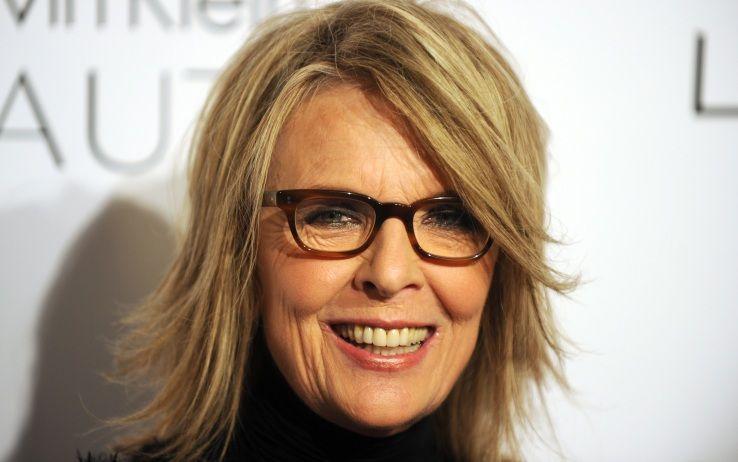 6e872eaadc2 Diane Keaton wears rectangular tortoise eyeglasses
