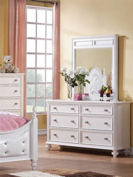 Athena Youth White Wood Glass Dresser And Mirror