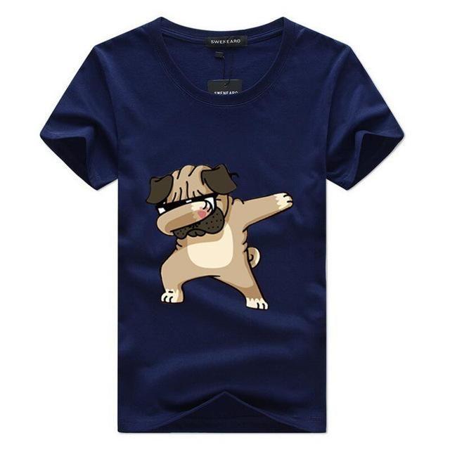Funny Dog Cartoon Printed Tops T-Shirt Tee Men Cotton Short Sleeve Summer Blouse