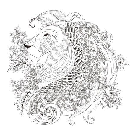 Página para colorear de León atractivo — Vector de stock ...