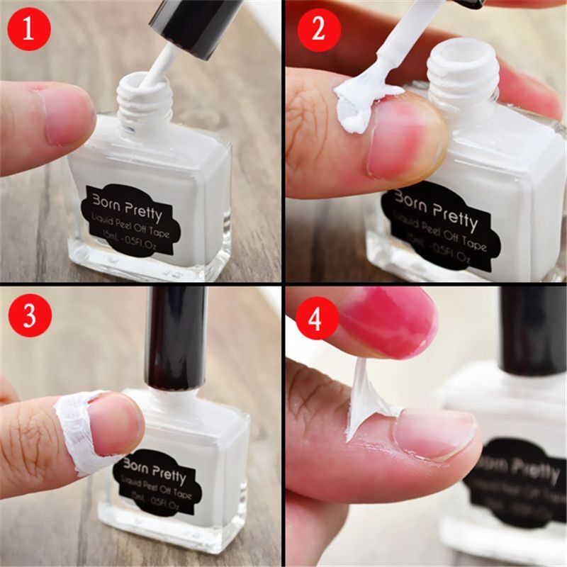 White Peel Off Liquid Tape Easy Clean Base Coat Nail Tape Finger ...