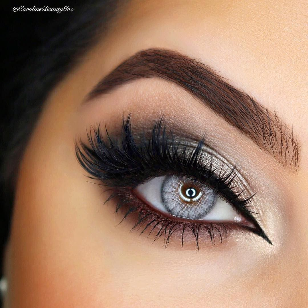 Black & Winged eyeliner (upper eyelid) & Thick false