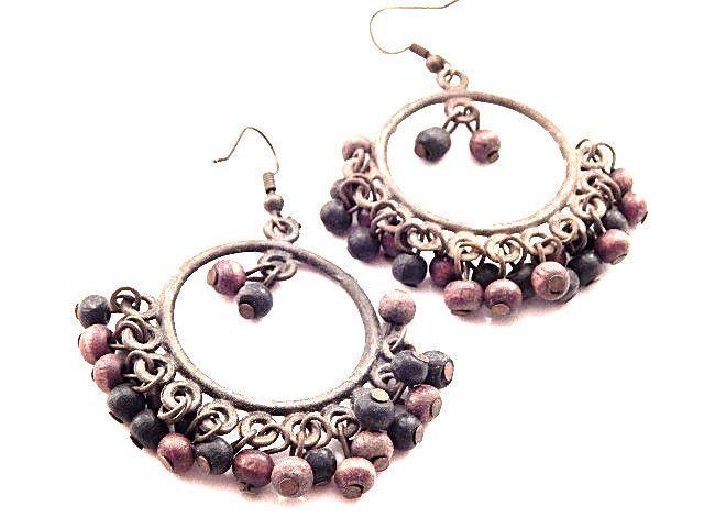 Earrings for Pierced Ears Beaded Dangle Antiqued Metal Drop Boho Vintage Jewelry #unknown #DropDangle
