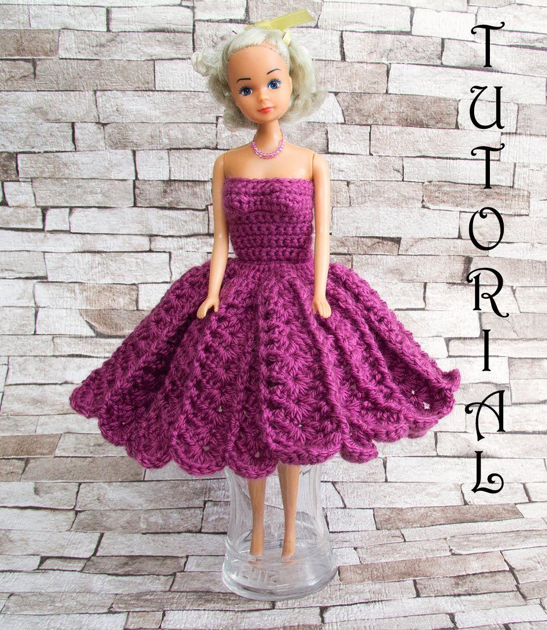 Sukienka na szydełku dla Barbie 1   lalka - jak zrobić ubranka ...