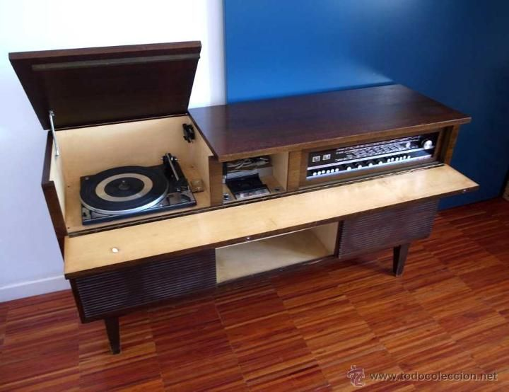 Mueble tocadiscos radio y cassette vica rg 87 5 et a os - Muebles anos 60 ...