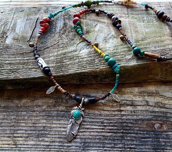 hippie necklace boho necklace gypsy necklace boho jewelry Bohemian jewelry hippy jewelry Horn necklace bohemian necklaces