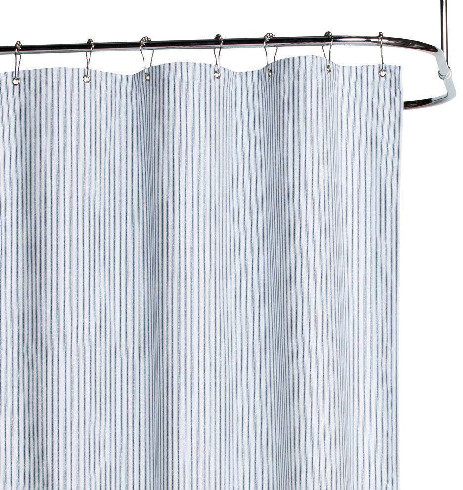Blue Ticking Cotton Duck Cloth Shower Curtain Primitive