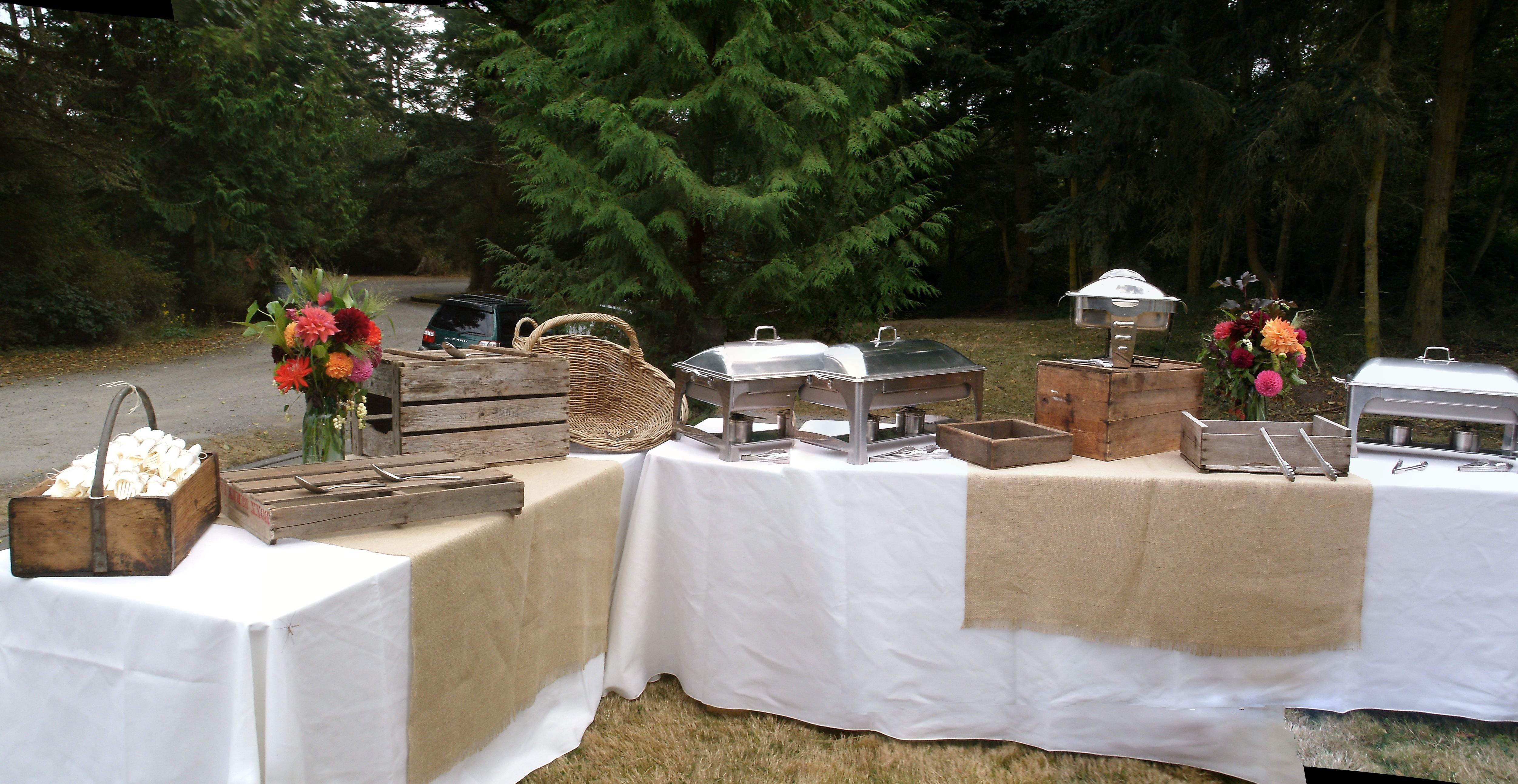 Rustic buffet station by WhidbeyPartyGirls events on Whidbey