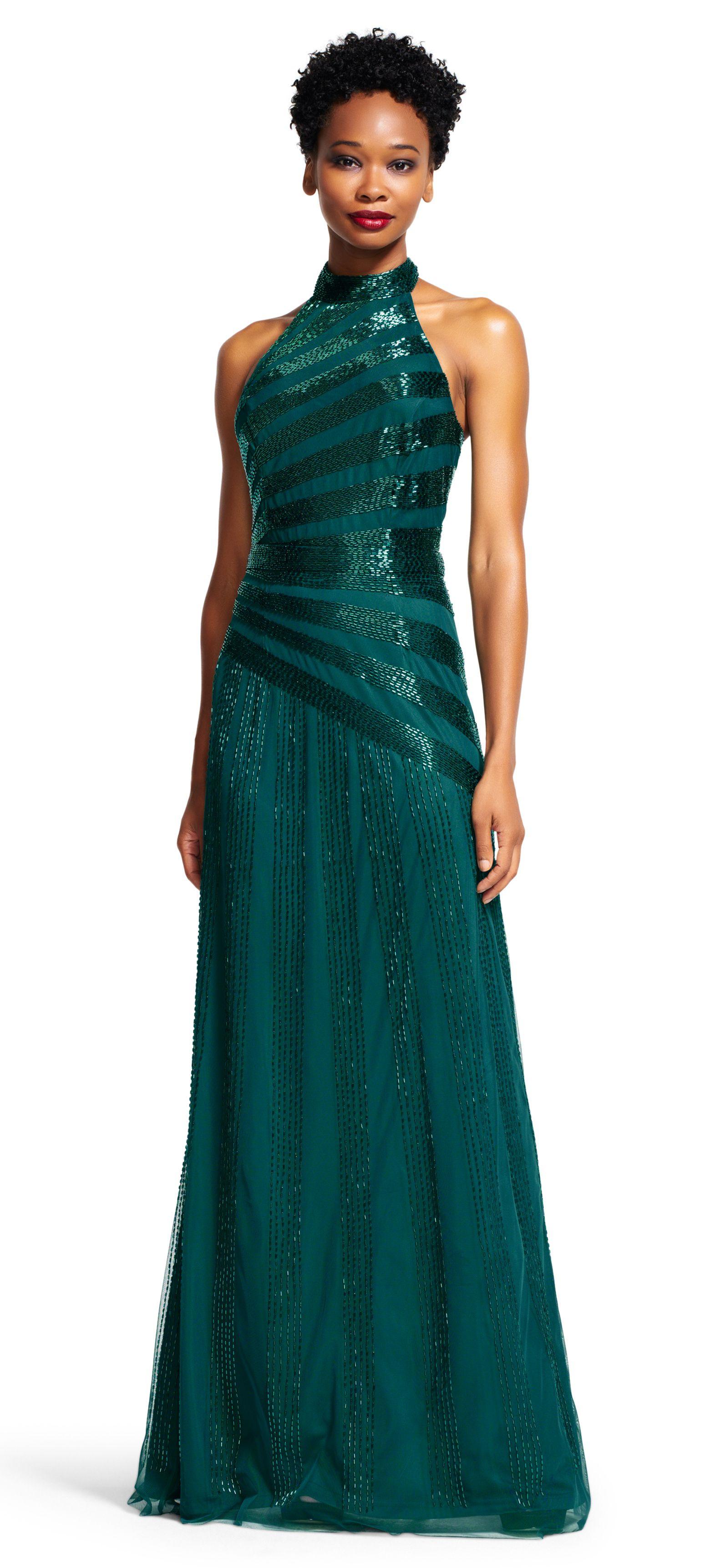 Halter beaded long gown hunter green 15995 evening dress