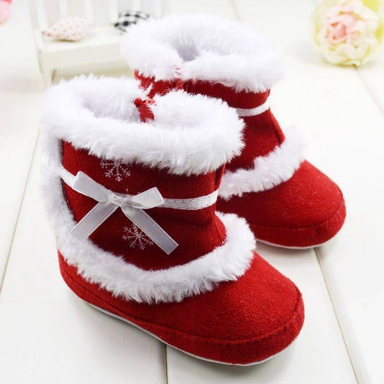 Ribbon Baby Girls Suede Winter Boots