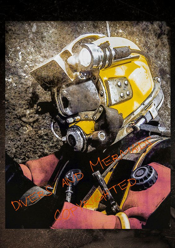 Underwater Welders Helmet Poster Print Welding Gift Diving Decor Scuba Art