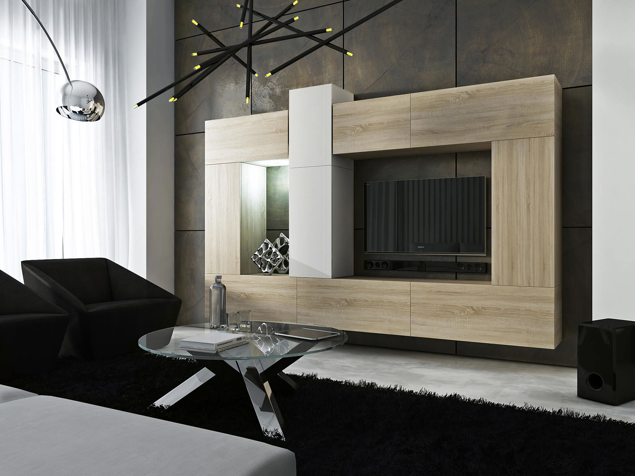 Mueble de sal n size sonoma y blanco prime home espa a for Muebles de salon negros