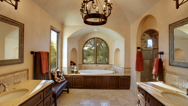 Spanish Bathrooms Design Spanish Bathrooms Small Blending Two Traditions S Bathrooms In 2020 Spanish Style Bathrooms Hacienda Style Homes Spanish Style Doors