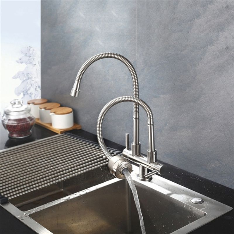 Stainless Steel Kitchen Faucet Omni Directional Double Spouts