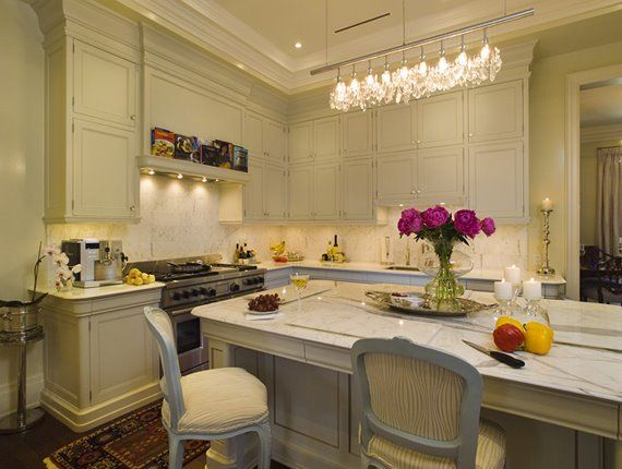 Elegant Chic Kitchen With Crystal Linear Chandelier  Kitchens Prepossessing Chandelier Kitchen Design Inspiration