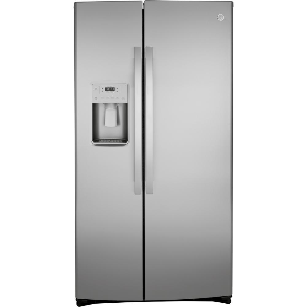 Ge 25 1 Cu Ft Side By Side Refrigerator In Fingerprint Resistant Stainless Steel Gss25iynfs The Home Depot Side By Side Refrigerator Stainless Steel Counters Counter Depth