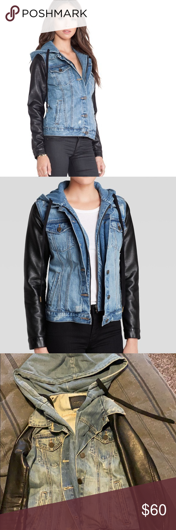 Denim And Faux Leather Jacket This Jacket Is So Badass Can Be Dressed Up Or Down Love The Hood And The Leather Slee Faux Leather Jackets Jackets Denim Hoodie [ 1740 x 580 Pixel ]