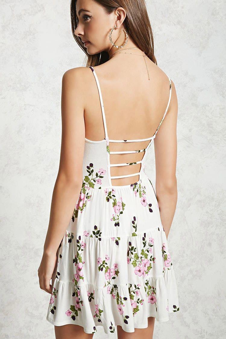 Pink dress forever 21  Cutout Back Floral Cami Dress  Forever     Skater