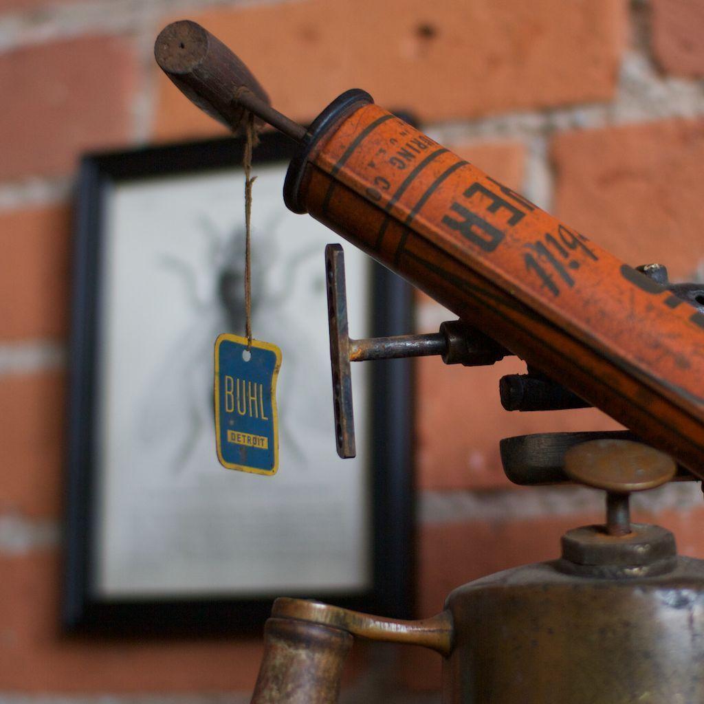 Antique detroit buhl dobbins bug sprayer origtag