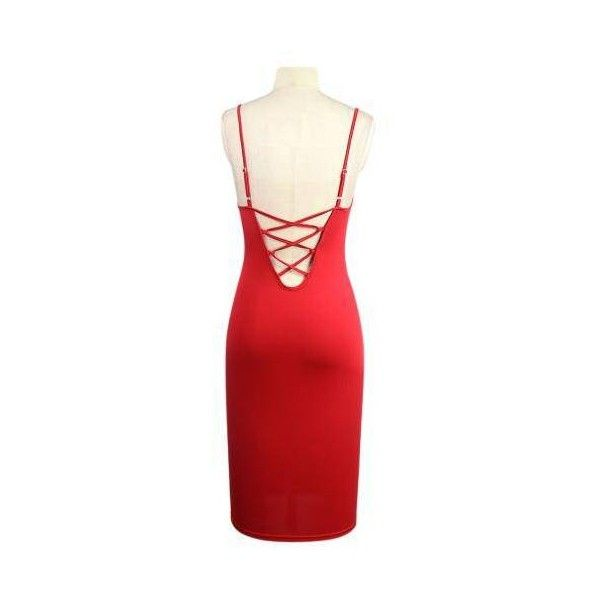 Yoins Red Strappy Backless Cut Out V Neck Bodycon Dress-Red S L ( 14 ... e0bf6b463