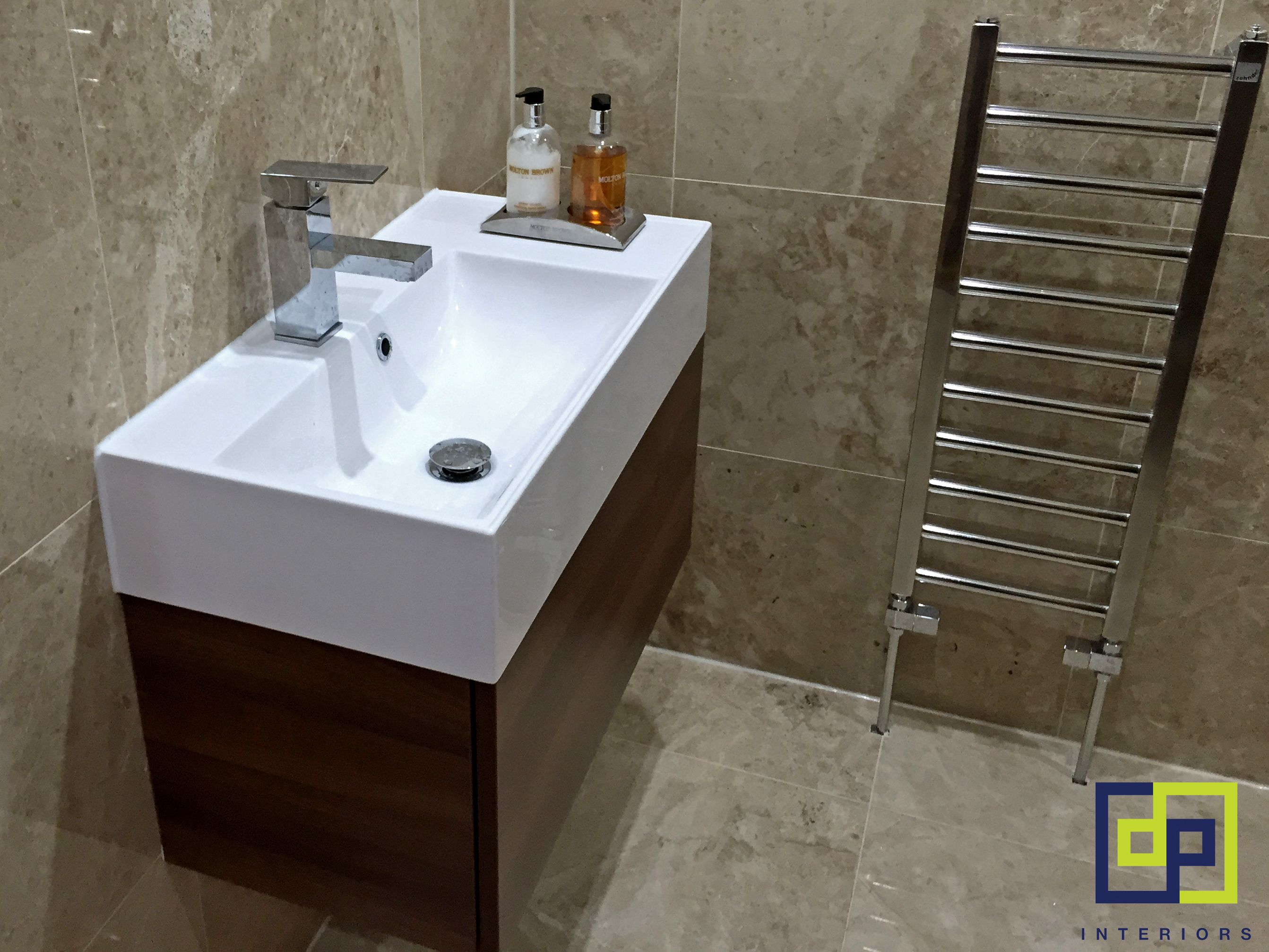 travertine tiles, walnut basin unit | completed bathrooms- dp
