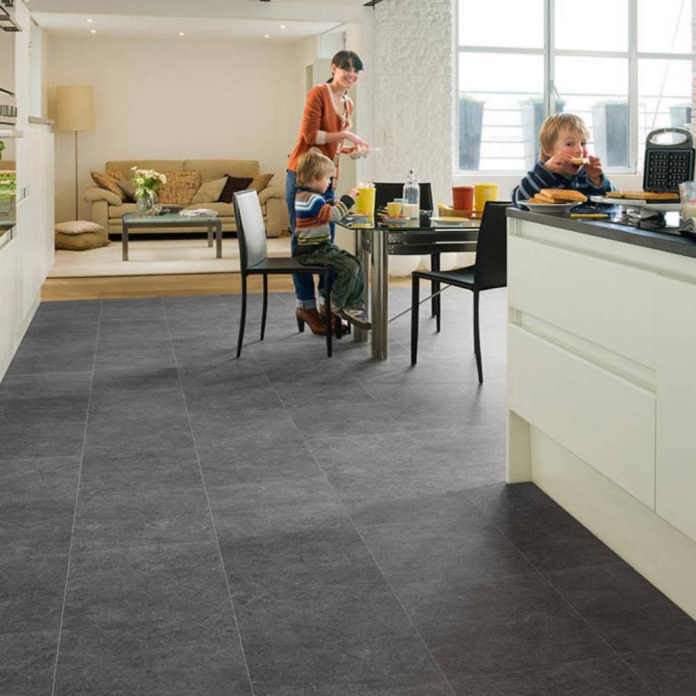 Panele podłogowe   Laminate tile flooring, Slate floor kitchen ...
