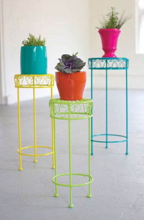 Brightly Colored Plant Stands