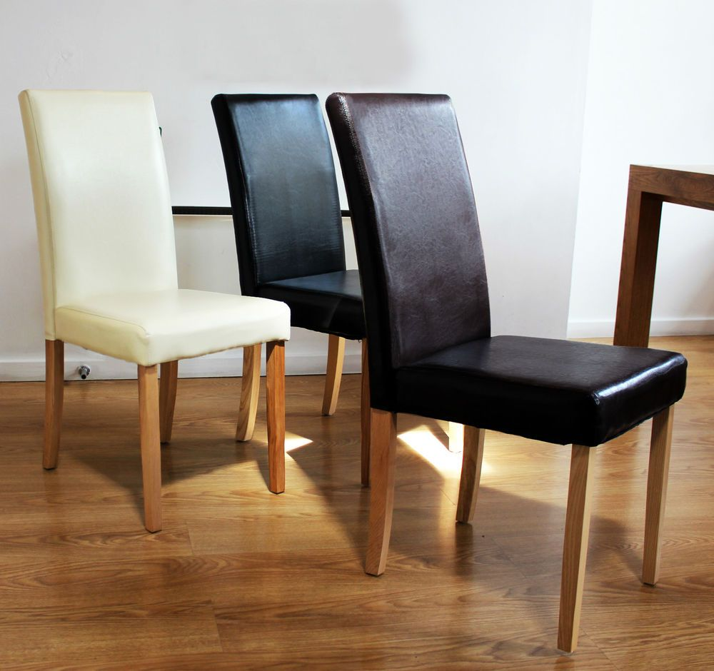 Faux leather dining room chairs leder