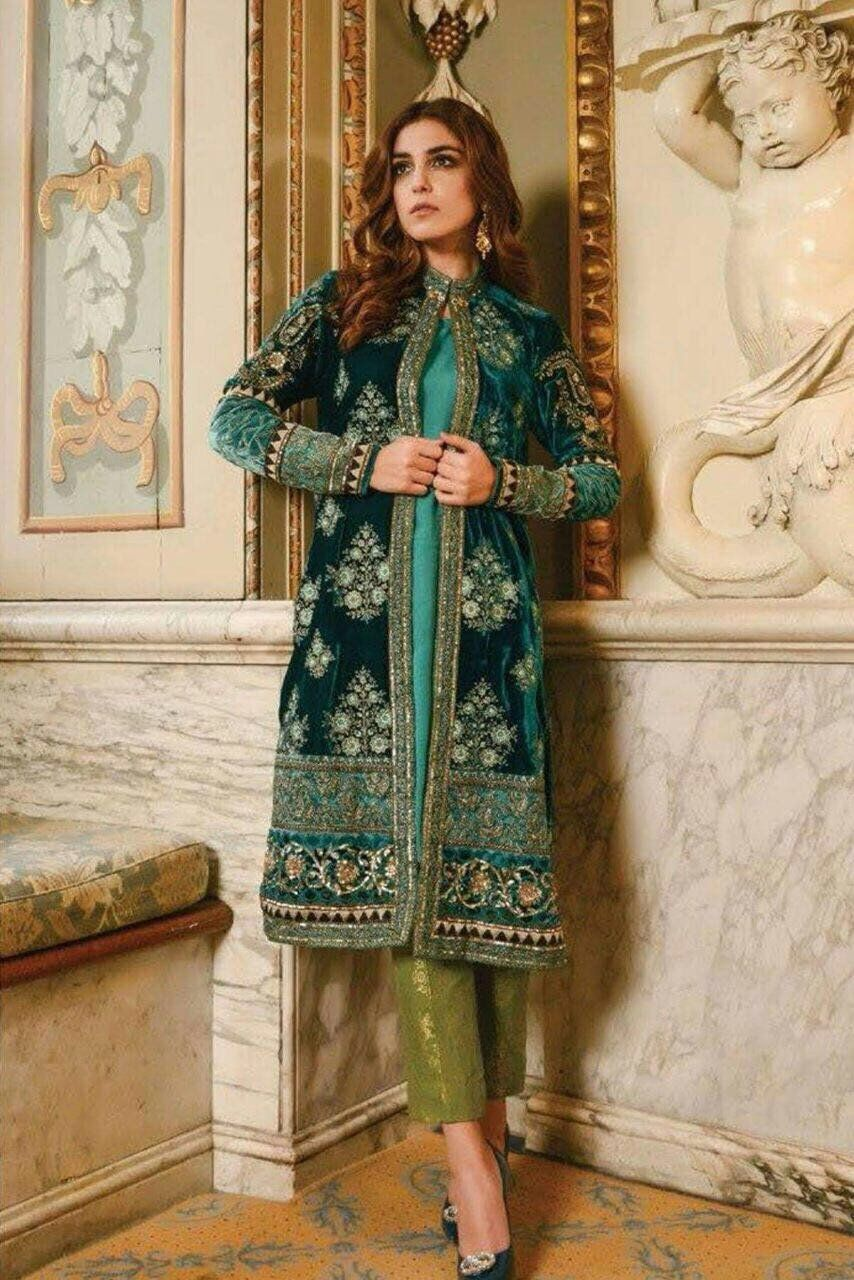 Beautiful Dress By Maria B In Dark Bottle Green Color Model C 1116 In 2020 Velvet Dress Designs Pakistani Dress Design Fashion