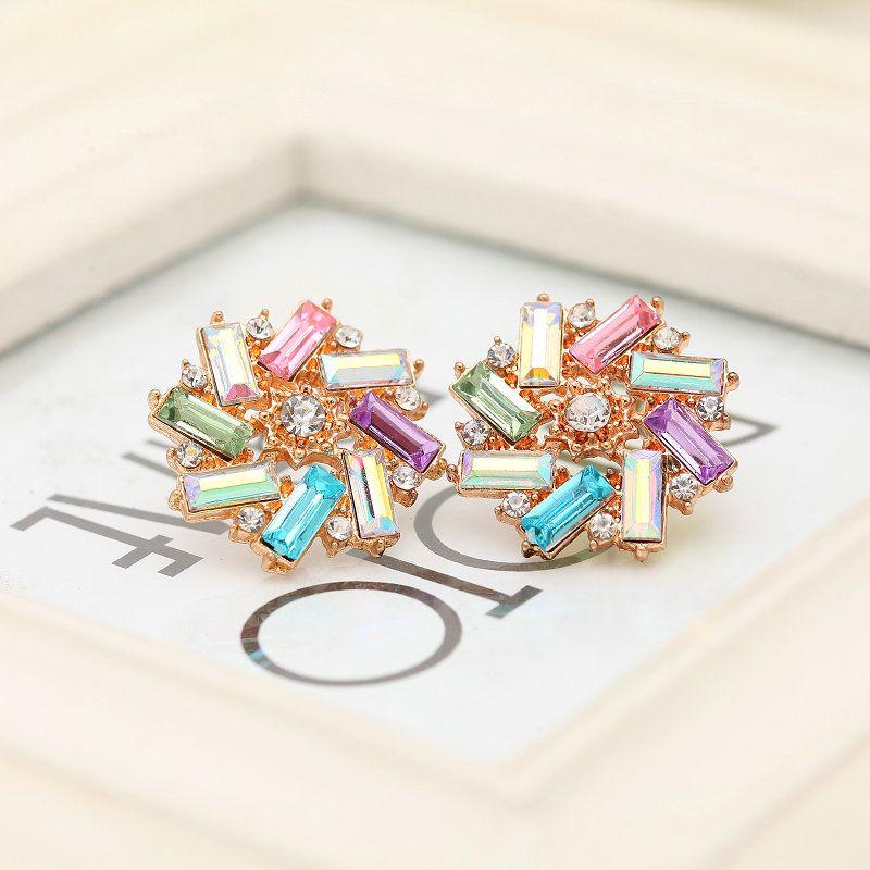 공장 가격 6 색 귀여운 크리스탈 스터드 귀걸이 꽃 귀걸이 boucle 디부 oreilles 귀걸이 패션 보석
