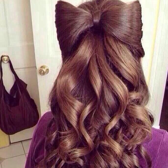 Another prom hairstyle with a hair bow   Long hair styles ...