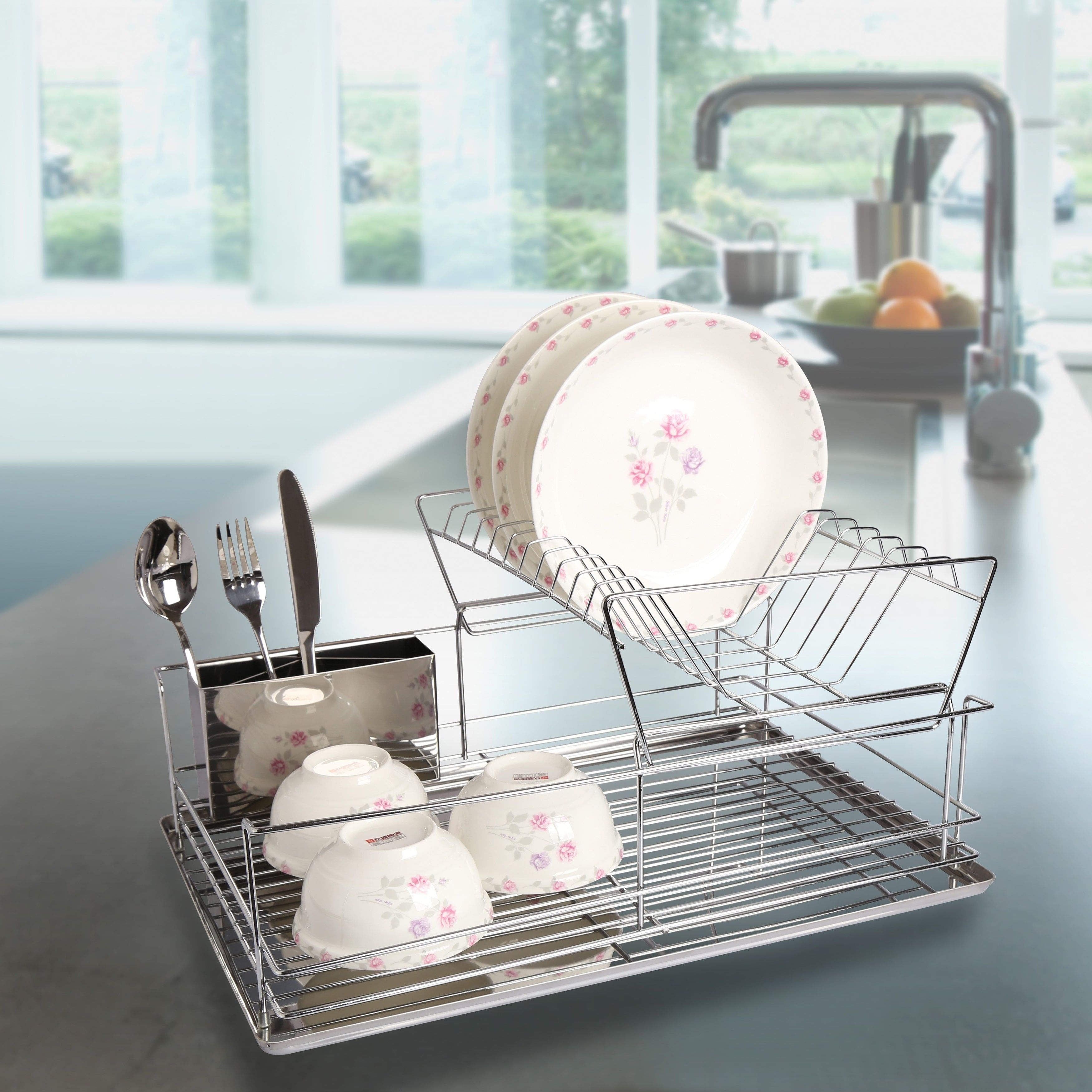 Modern Kitchen Stainless Steel 2-Tier Dish Drying Rack and ...