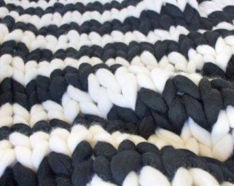 Chunky merino blanket merino wool blanket knitted for Manta punto gordo