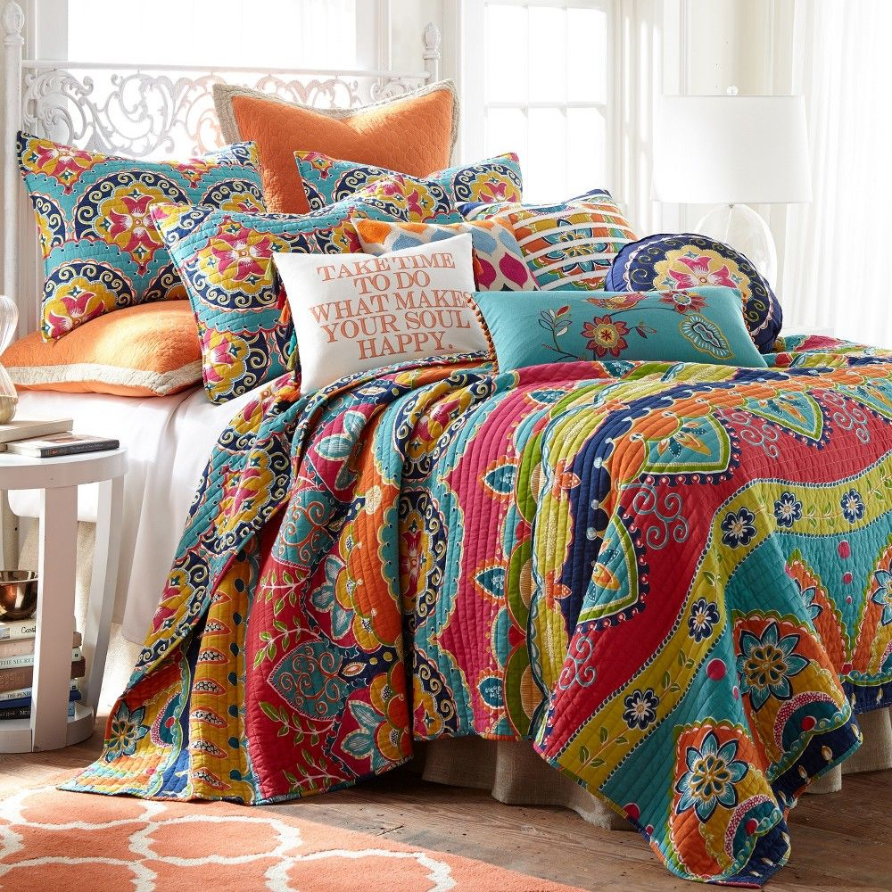 Amelie Bohemian Quilt Set Full Queen And Two Standard Pillow Shams Multi Levtex Home In 2021 Sets Bedding Bright King