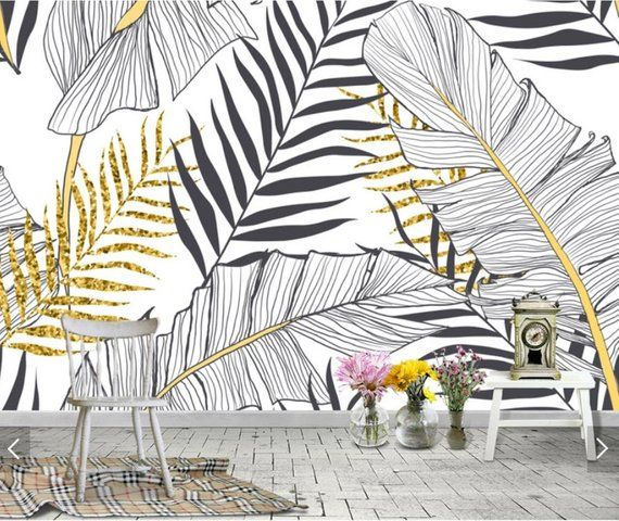 Nordic Black White Tropical Banana Leaves Wallpaper Murals